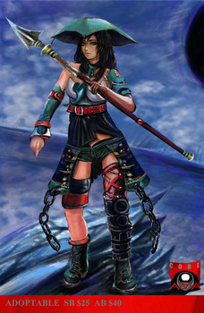 Warrior girl with spear - adoptable auction open by AVA-core