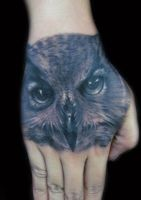 Owl Tattoo on hand by hatefulss