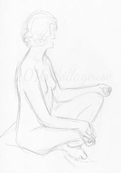 nude drawing class. pose 10 by Sillageuse