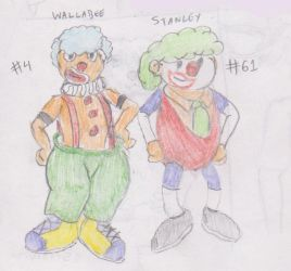 Wallabee and Stanley as clowns by WhippetWild