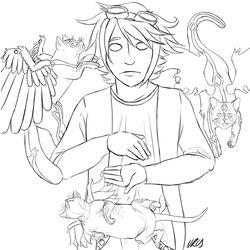 Nathan and The Cats by Doodallyflipicus