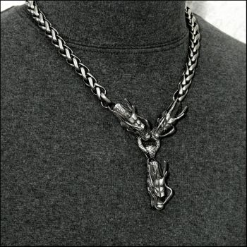 Triple Serpent Head on Viking Braid Chain Necklace by GoodSpiritWolf
