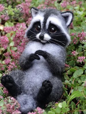 Needle Felted Little Raccoon by YuliaLeonovich