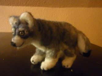 Grey Wolf felted posable doll by ArcticIceWolf
