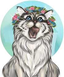 Floral wreath cat by MarkotnePierniki