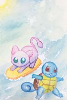 Day at the Beach - Watercolor Pencils by ColaChu