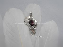 'Ruby dragon',  handmade sterling silver pendant by seralune