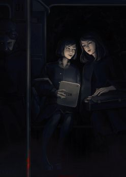 Yuriko and Ai in horror human!AU by lxvii-art