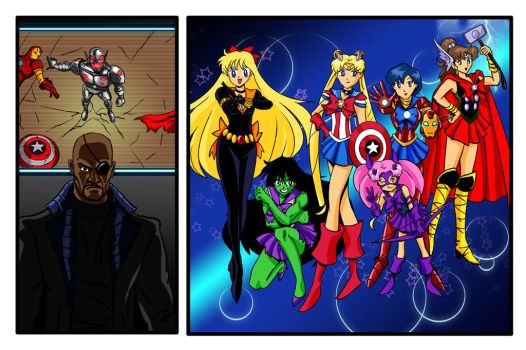 Sailor Moon/Avengers Crossover by CarlHoward