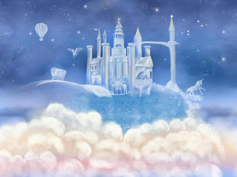 Magic castle on clouds nursery wall art by BasakTinli