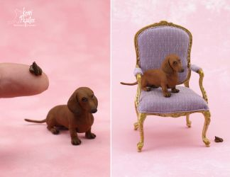 Dollhouse Miniature Dachshund sculpture by Pajutee