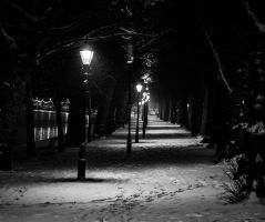 Snowy Embankment by Night by Mincingyoda
