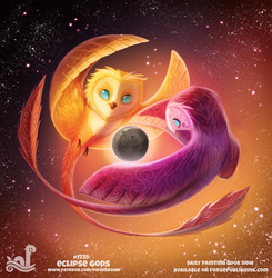 Daily Painting 1735# Eclipse Gods by Cryptid-Creations