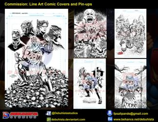 Commission: Line Art Comic Covers and Pin-ups by debuhista