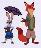 Judy and Nick - Steampunk (Color) by Shadeink