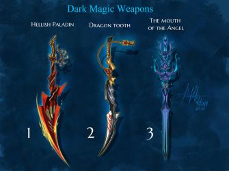 OPEN Adoptable: Dark Magic Weapons by Hassly