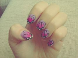 Pink butterfly nail art by Hrasulee
