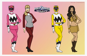 Pink and Yellow Galaxy Power Rangers by Femmes-Fatales