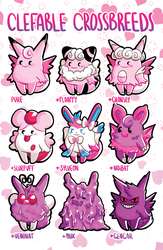 Clefable Crossbreeds by princesspizza