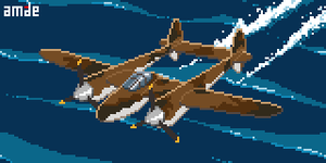 Animated Pixel P-38F Lightning by amade