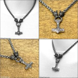Black Wolf Head Chain Necklace with Mjolnir by GoodSpiritWolf