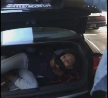 Black girl tied up and gagged in a trunk GIF by TheAnonymousBondageG