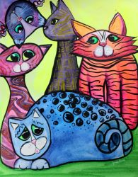 Colorful Cats in Portrait 3 by jempavia
