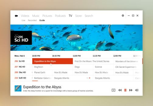 Windows UI Concept: Media Center by kgbstyle