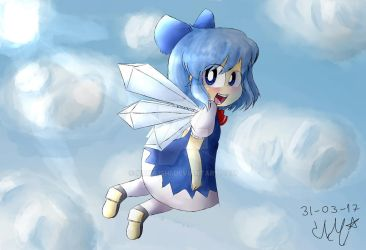 Cirno flying in the blue sky by Kamilishi