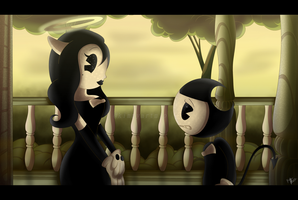 Bendy And Alice by KimmyArtMLP