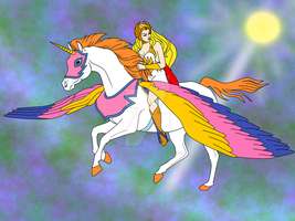 She-Ra and Swiftwind in Flight by CosmicFalcon-70