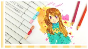Anime Girl with copic markers by angiewaiwai