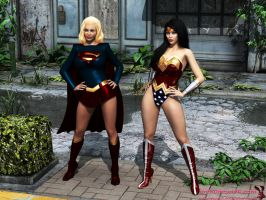 Another pair of Super and Wondie outfits by mrbunnyart