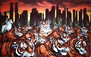 Tigers in New York Painting by Artist-Kim-Hunter