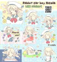 Rabbit ear boy Nicola LINE sticker! by solalis1226