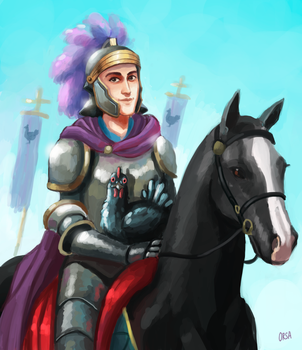The knight with his royal hen by OrsaTheSimurgh