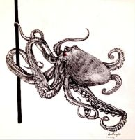 Pole-Dancing Octopus with Red Lipstick by kittumgirl