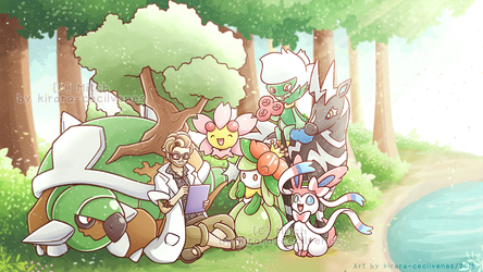 Commission - Kyle and Pokemon Team by Kirara-CecilVenes