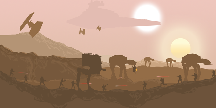 Star Wars Tatooine Battle by TheArtChibs