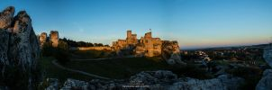 Ogrodzieniec castle at sunrise by re-pip