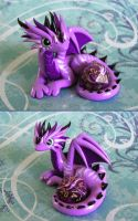 Purple Striped Dice Dragon by DragonsAndBeasties