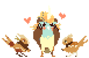 Pixel Taum and Birdfolk Bouncer by Hap-py
