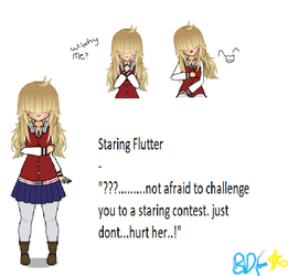 Staring Flutter (BBIEAL student OC) by Bluedashfoxy
