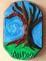 Clay on Wood: Rainbow Tree by AliDee33