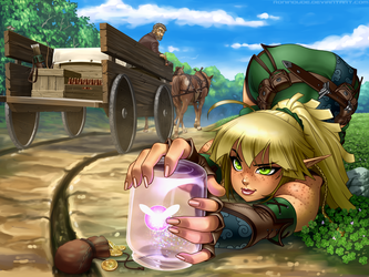 Elven Archer vs Thieving Pixie by RoninDude