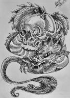 Skull and dragon by pladywolf82
