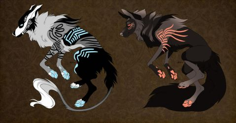 Tribal Glow Pupper Adopts #1 (Auction - CLOSED) by SarcasmBasement