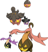 710 and 711 - Pumpkaboo Evolutionary Family by Tails19950
