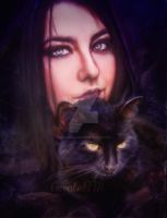 Girl-and-cat by CaroleBM