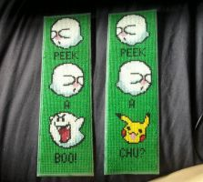 X-Stitch - Pika-Boo bookmark by thirteendaze